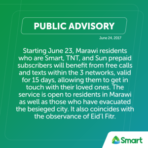Smart provides 15 days of free calls and texts for displaced Marawi residents